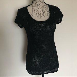 🔵5/$25 Ann Taylor Lace Floral Short Sleeve Shirt